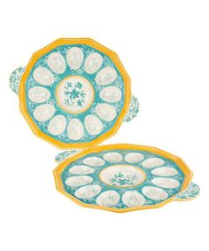 This Teal Floral Lace Egg Tray - Set of Two is perfect! #zulilyfinds