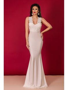 Rochie alba mulata cu dantela Prom Dresses, Formal Dresses, Wedding Dresses, White Lace, Lace Wedding, Fashion, Dresses For Formal, Bride Dresses, Moda