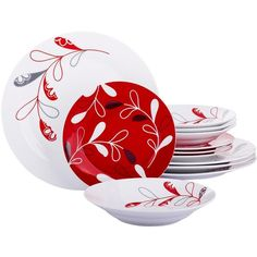 Red Leaf 12 Piece Dinner Set ($25) ❤ liked on Polyvore featuring home, kitchen & dining, dinnerware, soup cereal bowl, microwave safe dinnerware, porcelain dinner plates, red porcelain dinnerware and red dinner sets