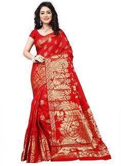 Red Banarasi Silk Fancy Silk Saree