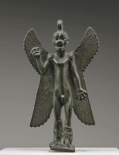 "Pazuzu sculpture, ca. 8th century B.C. Assyria. Musée du Louvre, Antiquités Orientales, MNB467 | This object is featured in ""#AssyriatoIberia at the Dawn of the Classical Age,"" on view through January 4, 2015. #Halloween"