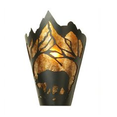 Black Bear fluorescentwall sconce.    Amber Mica diffuser.   Custom crafted in Yorkville, New York.