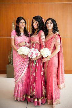 Bridesmaids in pink sarees desi wedding, wedding attire, wedding outfits, a Pakistani Dresses, Indian Dresses, Indian Outfits, Indian Clothes, Desi Wedding, Wedding Attire, Wedding Outfits, Wedding Ideas, Saree Wedding