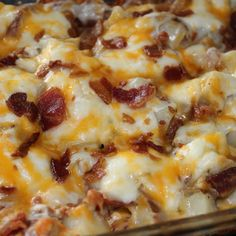 Twice-Baked Potato Casserole Aunt Theresa bakes the washed potatoes, cubed, in a covered casserole dish until they are fully cooked but not overcooked. Description from pinterest.com. I searched for this on bing.com/images