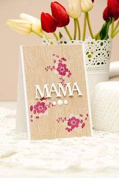 *gorgeous card* Avery Elle's Mother's Day Challenge - Mama Card by Yana Smakula using Love Notes Stamp Set, sakura, cherry blossoms, woodgrain, Pretty Cards, Cute Cards, Mothers Day Cards, Happy Mothers, Arts And Crafts Projects, Card Maker, Scrapbook Cards, Scrapbooking, Creative Cards