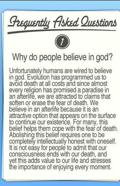 Why believe in God.
