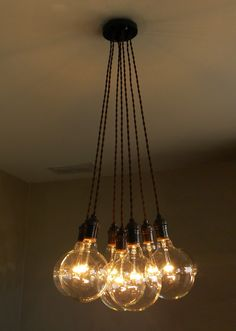 7 Cluster Pendant Chandelier Lighting modern hanging Cloth Cords Industrial pendant lamp ceiling fixture plug in or hardwired by HangoutLighting on Etsy https://www.etsy.com/listing/206823365/7-cluster-pendant-chandelier-lighting