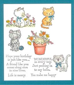 """Debut: 2016 Idea Book & Catalog * Five Kitty images * Six Sentiments:  """"Hope your birthday is just like you..."""" """"WONDERFUL in every way."""" """"A friend like you comes along once in nine lives."""" """"Life is messy."""" """"Just peeking in to say hello."""" """"You make me happy."""""""