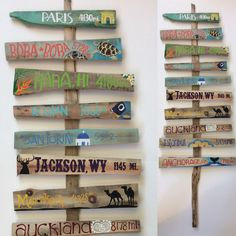 Set of 8 Custom Illustrated Signpost Signs by KrysCaywoodDesign