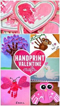 Hand prints need their turn on this board too - so here's a ton of ADORABLE hand print crafts too! Everything from trees to bugs to octopus!   Preschool Valentine's Day Crafts