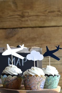 Vintage Map Cupcake Wrappers perfect for your adventure themed wedding baby shower or birthday Baby Shower Cupcakes, Baby Shower Themes, Baby Boy Shower, Themed Wedding Cakes, Themed Cupcakes, Airplane Cupcakes, Airplane Baby Shower Cake, Planes Birthday, Baby Birthday
