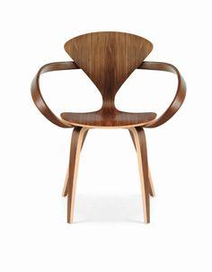 Chaise design organique / avec accoudoirs / en noyer / en bois courbé - 1958 : NATURAL WALNUT by Norman Cherner - Cherner
