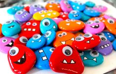Rock monsters - find light coloured pebbles/stones, paint with acrylic, stick on googly eyes and draw/paint teeth then stick magnets on the back