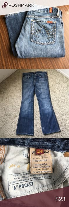 7 Seven for all mankind A pocket jeans tag size 29 7 Seven for all mankind a pocket women's medium wash jeans tag size 29 measurements 32 inch waist 29 inch inseam 18 inches cuffs gently owned some minor wear around pockets inv # j1201 7 For All Mankind Jeans Boot Cut