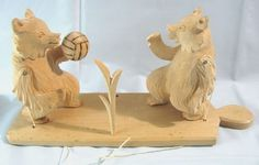 VTG Hand Carved Wooden Toy Bear Figurine #Volleyball Folk Art Primitive Russia  #babayaga #carvedwood #vintagetoys