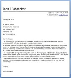 industrial engineering cover letters