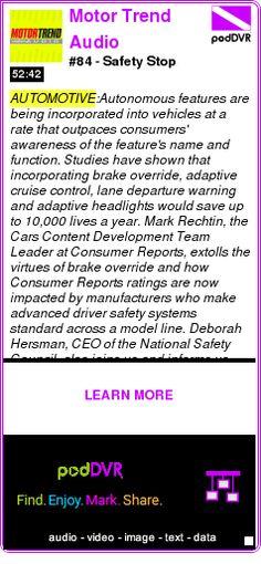 #AUTOMOTIVE #PODCAST  Motor Trend Audio    #84 - Safety Stop    LISTEN...  http://podDVR.COM/?c=503cf9e7-a3ac-5ae2-9fce-47f5eb17a534