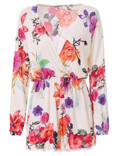 Plunging Neck Long Sleeve Floral Print Romper #womensfashion #pinterestfashion #buy #fun#fashion