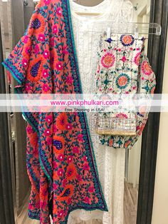Hand Embroidered Parsi work Phulkari Stole, white chikankari Kurta and Phulkari Pants . Shop Online in USA only at www.PinkPhulkari.com. FREE SHIPPING IN USA!