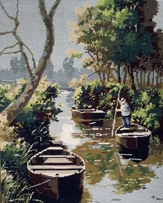 Lovely river scene with man punting -vintage hand stitched needlepoint tapestry ideal for wall/cushion/pillow/bag/stool/chair cover
