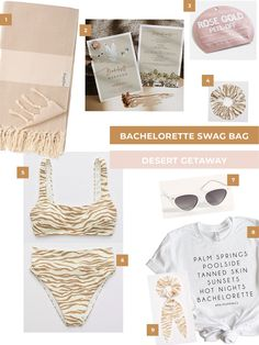 Desert-inspired swag for a bachelorette party! Build a bachelorette party gift bag your girls will love. Desert Bachelorette Party, Bachelorette Party Shirts, Scoop Bikini Top, Party Gift Bags, Bridal Shower, Party Ideas, Shower Ideas, Swag, Wedding