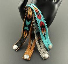 Native American by CabinFeverBracelets on Etsy Bead Loom Patterns, Beaded Jewelry Patterns, Beading Patterns, Beading Ideas, Bead Loom Bracelets, Woven Bracelets, Estilo Navajo, Beadwork Designs, Diy Mode