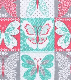 "Snuggle Flannel Fabric 42""-Butterfly Patchwork"