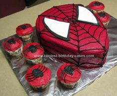 Homemade Spiderman Birthday Cake: I made this Spiderman Birthday Cake for a friend's son's 6 yr. old birthday. First I made 2 13X9 cakes. Then after they cooled I leveled them and shaped