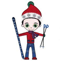 Jazzy Jack Skiing Single Toy 2, Cutwork, Word Art, Blackwork, Machine Embroidery Designs, Quilt Blocks, Free Design, Skiing, Applique