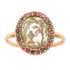 Georgian Ivory Ruby Gold Memorial Ring