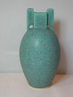 New Jemerick Art Deco Pottery Matte Teco Green Mission Prairie Style Vase | eBay