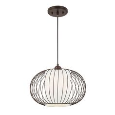 "Bertie Pendant; $83.95; burnished bronze/polished nickel; 10""Hx13""Wx13""D; canopy dia. 5.12""; length 36""; white shade; joss&main"