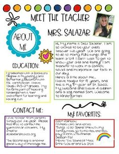 Meet the Teacher & Student- All About Me by Sunshine and Rainbows in Teaching Teacher Forms, Teacher Page, School Teacher, Teacher Web, Teacher Welcome Letters, Letter To Teacher, Preschool Welcome Letter, Letter To Students, Letter To Parents