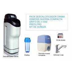 Descalcificador de agua domestico del modelo Danna con 35 litros de resina, bajo consumo. Se complementa con una osmosis inversa compacta de 5 etapas, grifo de tres vías para sustituir con el de fregadero habitual y no perforar encimera o fregadero. Se incluye de regalo un kit de dureza para comprobar el agua filtrada por el descalcificador y un prefiltro también de regalo para instalar antes del descalcificador.