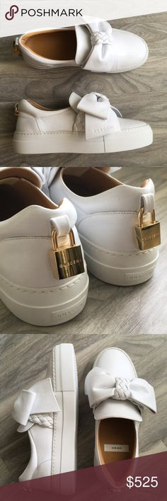 """Buscemi white bow sneakers 6 new ! Buscemi white bow sneakers 6/36 new. Gorgeous slip on! The right side was on display for Nordstrom so it has wear. Please inspect pics carefully.   From Nordstrom """"Grounded in Italian craftsmanship and influenced by urban street style, a calfskin slip-on features a low skater profile, a logo-embossed bow and a signature 18-karat gold-plated lock at the heel counter. Removable insole Leather upper and lining/rubber sole Made in Italy Salon Shoes"""" Buscemi…"""