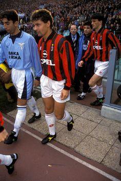 Roberto Di Matteo (Lazio Rome) Roberto Baggio et Christian Panucci (AC Milan)