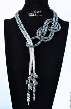 "Lariat ""Gray Light"" from Swarovski - order . - Lariat ""Gray Light"" from Swarovski – order at the Fair of Masters – Jewelry Knots, Fabric Jewelry, Jewelry Crafts, Beaded Jewelry, Handmade Jewelry, Silver Jewelry, Jewelry Shop, Jewelry Accessories, Jewelry Design"