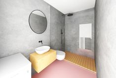 Interior design of apartment in Prague. Design by Unhary. Prague, Interior Design, Mirror, Bathroom, Projects, Furniture, Home Decor, Nest Design, Washroom