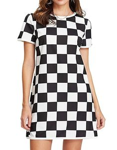9d0901f1fc5f Romwe Women's Plaid Check Print Dress Casual Short Sleeve Mini Shift Dress  - best woman's fashion products designed to provide