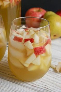 Sparkling Apple Pear Sangria; a light, crisp, sweet sangria that makes the perfect fall party drink