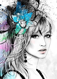 Portrait with Orchids by Anna Ulyashina - illustrator, via Behance