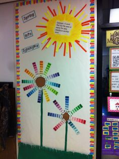 Our spring bulletin board.  Paint strips are a great way to teach synonyms! My sun is a little ghetto but kids insisted that we must have a sun. Original idea came from http://helloliteracy.blogspot.com/2011/09/packed-week-of-learning.html?m=1