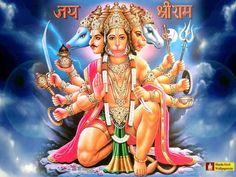 The five faces in Panchmukhi Hanuman are of:- Shri Varaha facing the North Shri Narasimha facing the South Shri Garuda facing the West Shri Hayagriva facing the Sky and His own (Hanuman) facing the East