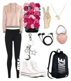 """Untitled #67"" by cloudycanadian on Polyvore featuring NIKE, Topshop, Kate Spade, Converse, Lucky Brand, Sennheiser and Too Faced Cosmetics"
