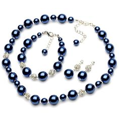 Lustrous Navy Blue Pearl & Rhinestone Jewelry Set