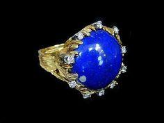 DIAMOND LAPIS RING by HPSJEWELERS on Etsy