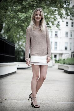 White leather mini skirt, strappy heels, knit