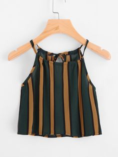 Shop Vertical Striped Self Tie Back Cami Top online. SheIn offers Vertical Striped Self Tie Back Cami Top & more to fit your fashionable needs. Cami Tops, Halter Tops, Casual Skirt Outfits, Cute Outfits, Black Women Fashion, Womens Fashion, Plus Size Tank Tops, Vertical Stripes, Ladies Dress Design