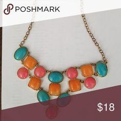 bdb581df431 Multi colored Bib necklace Orange