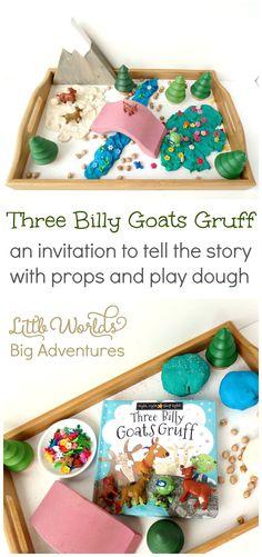 Three Billy Goats Gruff Invitation to Play – Little Worlds – kindergarden Preschool Literacy, Literacy Activities, Activities For Kids, Preschool Ideas, Teaching Ideas, Montessori, Billy Goats Gruff, Story Sack, Playdough Activities